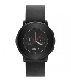 Умные часы Pebble Time Round 20mm band (Black with Nero Black Leather)