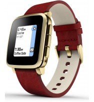 Умные часы Pebble Time Steel (Gold with Leather Band)