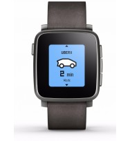 Умные часы Pebble Time Steel (Black with Leather Band)